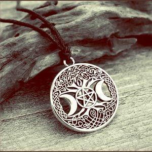 Triple Moon Goddess Pentagram Tree Life Necklace